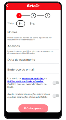registro no aplicativo betclic no android