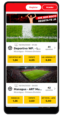 casa no aplicativo betclic no android